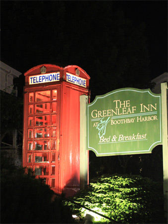 Greenleaf Inn Phonebooth at Night